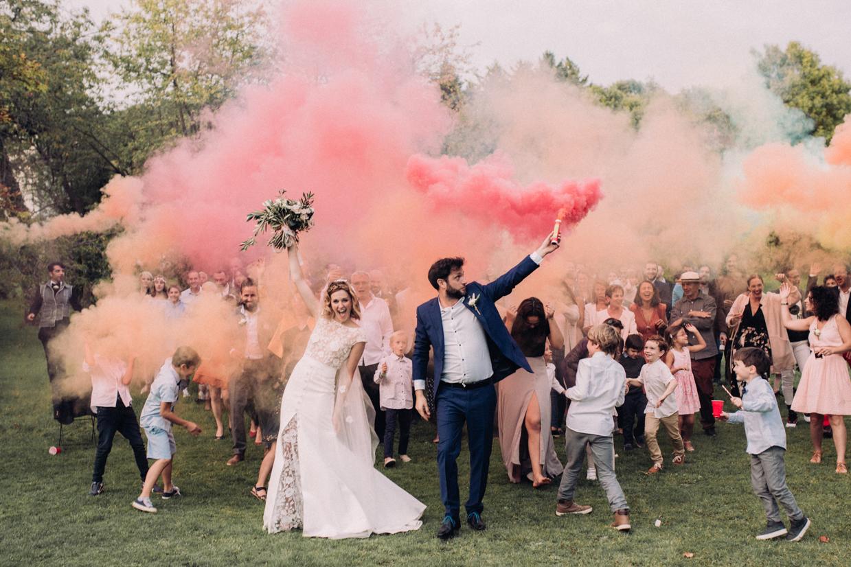 Photographe mariage fumigène