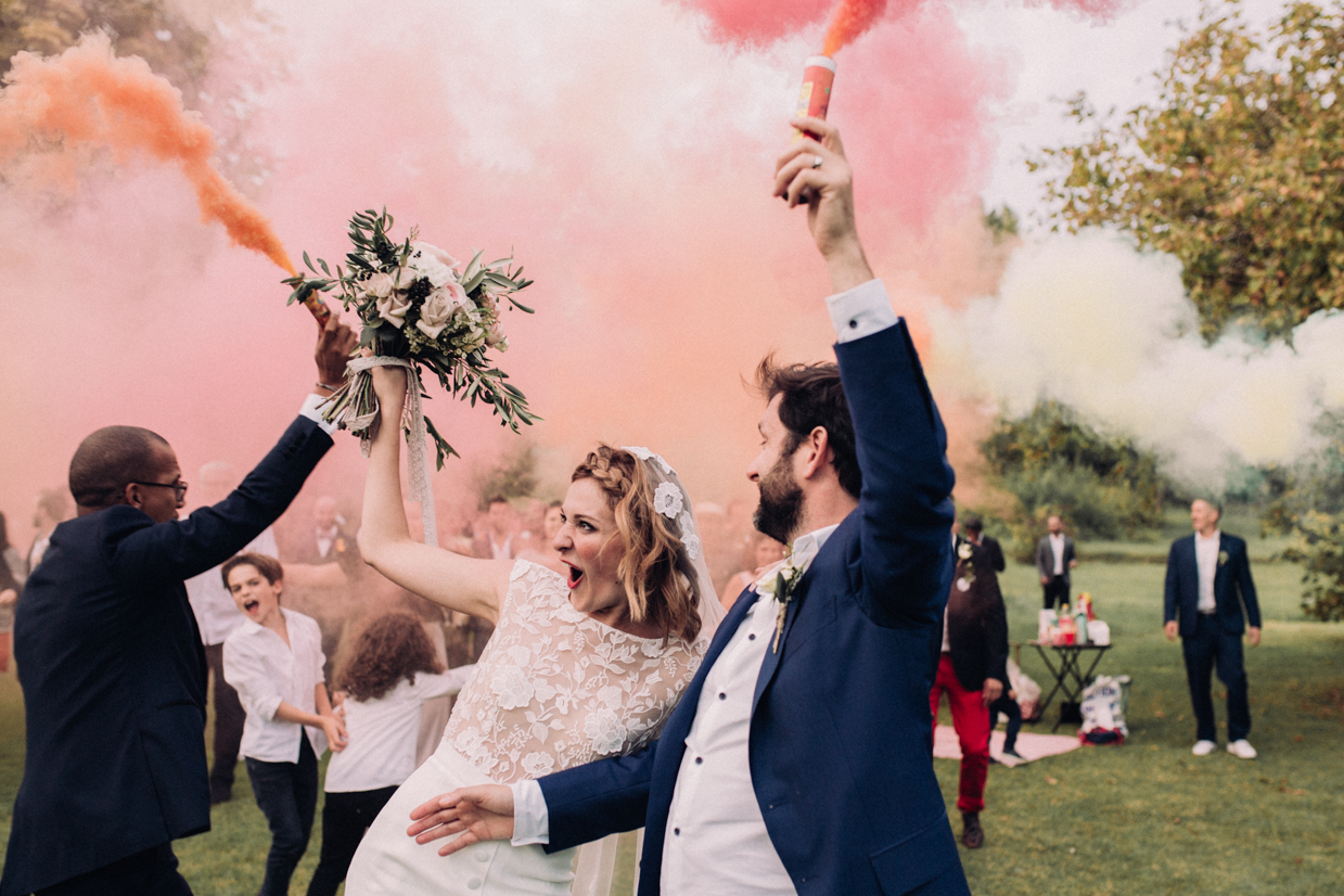 Wedding photographer smoke bomb
