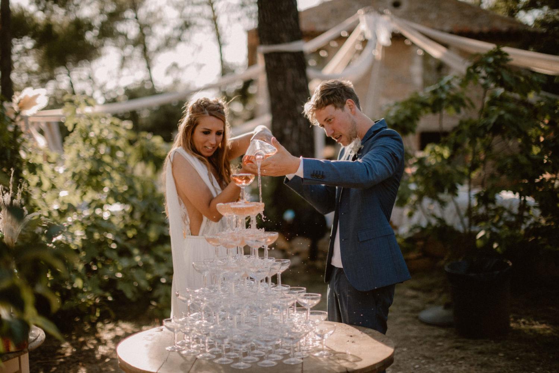 Fontaine de rosé mariage provence